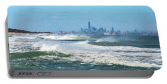 Windy View Of Nyc From Sandy Hook Nj Portable Battery Charger by Gary Slawsky