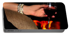 Wine And A Fire And A Dog Portable Battery Charger