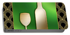 Portable Battery Charger featuring the digital art Wine Bottle And Glass - Chuck Staley by Chuck Staley