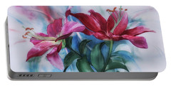 Wine Lillies In Pastel Watercolour Portable Battery Charger