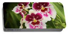 Portable Battery Charger featuring the photograph Wine Orchids- The Risen Lord by Penny Lisowski