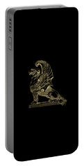 Portable Battery Charger featuring the digital art Winged Chimera From Theater De Bellecour, Lyon, France, In Gold On Black by Serge Averbukh