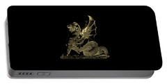 Portable Battery Charger featuring the digital art Winged Dragon Chimera From Fontaine Saint-michel, Paris In Gold On Black by Serge Averbukh
