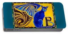 Winged Feline - Cat Art With Letter P By Dora Hathazi Mendes Portable Battery Charger