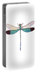 Portable Battery Charger featuring the painting Winged Jewels 1, Watercolor Tropical Dragonfly Aqua Blue Black by Audrey Jeanne Roberts