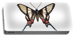 Portable Battery Charger featuring the painting Winged Jewels 4, Watercolor Tropical Butterflie Black White Red Spots by Audrey Jeanne Roberts