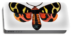 Portable Battery Charger featuring the painting Winged Jewels 5, Watercolor Moth Black Yellow Orange And Red Tropical by Audrey Jeanne Roberts