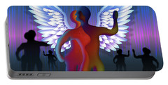 Portable Battery Charger featuring the digital art Winged Life by Rosa Cobos