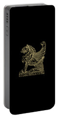 Portable Battery Charger featuring the digital art Winged Lion Chimera From Casa San Isidora, Santiago, Chile, In Gold On Black by Serge Averbukh