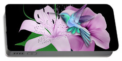 Portable Battery Charger featuring the mixed media Winging It Hummingbird by Marvin Blaine