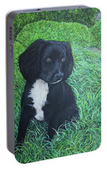Portable Battery Charger featuring the painting Winnie by Tom Roderick