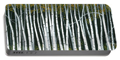 Portable Battery Charger featuring the painting Winter Aspen 3 by Michael Swanson
