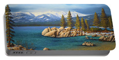 Winter At Sand Harbor Lake Tahoe Portable Battery Charger