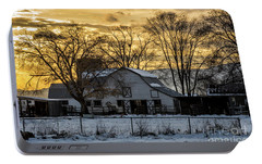 Portable Battery Charger featuring the photograph Winter Barn At Sunset - Provo - Utah by Gary Whitton