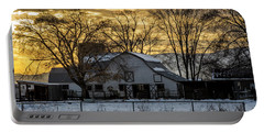 Winter Barn At Sunset - Provo - Utah Portable Battery Charger by Gary Whitton