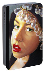 Portable Battery Charger featuring the painting Winter Beauty by Malinda  Prudhomme