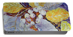 Portable Battery Charger featuring the painting Winter Berries by Joanne Smoley