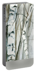 Winter Birch Portable Battery Charger by Laurie Rohner