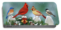 Winter Birds And Christmas Garland Portable Battery Charger