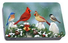 Winter Birds And Christmas Garland Portable Battery Charger by Crista Forest