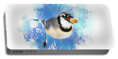 Winter Bluejay Portable Battery Charger by Darren Fisher