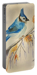 Winter Bluejay Portable Battery Charger by Maria Urso