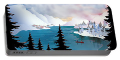 Winter Canoeing Around Lake Tahoe - Abstract Mountains Portable Battery Charger