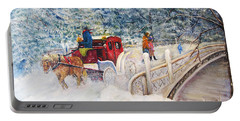 Winter Carriage In Central Park Portable Battery Charger