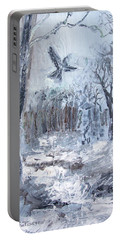Portable Battery Charger featuring the painting Winter Caws by Robin Maria Pedrero
