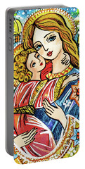 Portable Battery Charger featuring the painting Winter Church by Eva Campbell