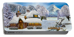 Winter Country Cottage Portable Battery Charger