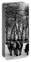 Winter Cows Portable Battery Charger by Elaine Hunter
