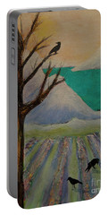 Portable Battery Charger featuring the painting Winter Crows by Jeanette French