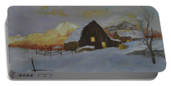 Winter Dusk On The Farm Portable Battery Charger