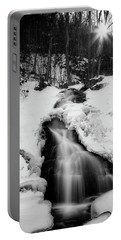 Portable Battery Charger featuring the photograph Winter Falls With Sun by Alan Raasch