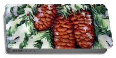 Winter Fir Cones Portable Battery Charger by Inese Poga