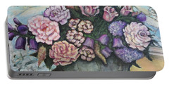 Winter Flowers Portable Battery Charger by Rae Chichilnitsky