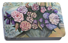 Portable Battery Charger featuring the painting Winter Flowers by Rae Chichilnitsky