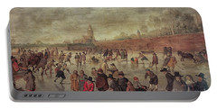 Portable Battery Charger featuring the photograph Winter Fun Painting By Barend Avercamp by Patricia Hofmeester