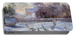 Winter Geese In Church Meadow Portable Battery Charger by Timothy Easton