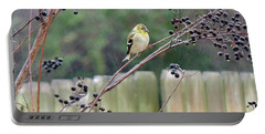 Winter Goldfinch In The Rain Portable Battery Charger
