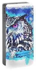 Cute Screech Owl Winter Artwork Portable Battery Charger