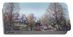 Portable Battery Charger featuring the painting Winter Hilliers Garden Hampshire by Martin Davey
