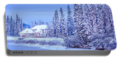 Winter Home On Alaska River  Portable Battery Charger