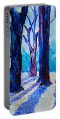 Portable Battery Charger featuring the painting Winter Impression by Ana Maria Edulescu