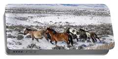 Winter In Sand Wash Basin - Wild Mustangs On The Run Portable Battery Charger