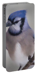 Portable Battery Charger featuring the digital art Winter Jay by Lana Trussell