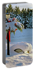 Winter Lamp Post In The Snow With Christmas Bough Portable Battery Charger