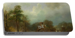 Portable Battery Charger featuring the painting Winter Landscape - Holland by Barend Koekkoek