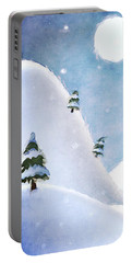 Winter Landscape Under Full Moon Portable Battery Charger